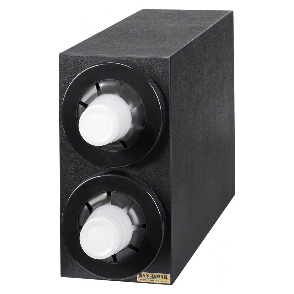 San Jamar C2952BK Sentry Dimension Beverage Cabinet, 15-1/8  H x 7-3/4 W x 23 in D, 2 Dispensers