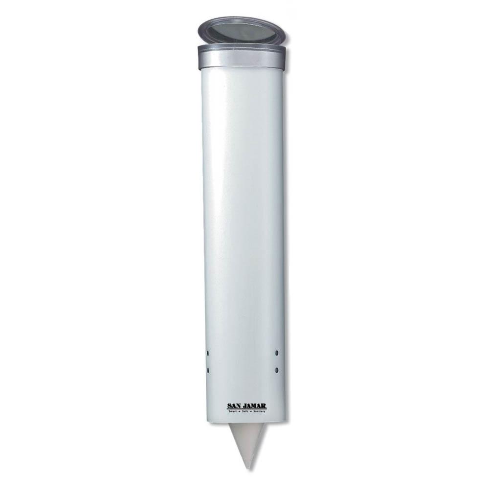 San Jamar C3165WH Medium Pull-Type Water Cup Dispenser, Cone 4-10 oz, Flat 4-10 oz, White