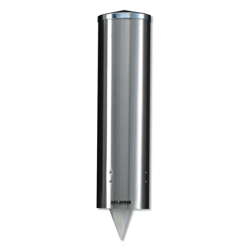 San Jamar C3450SS Classic Large Water Cup Dispenser, 8-12 oz Cone, 12-24 oz Flat