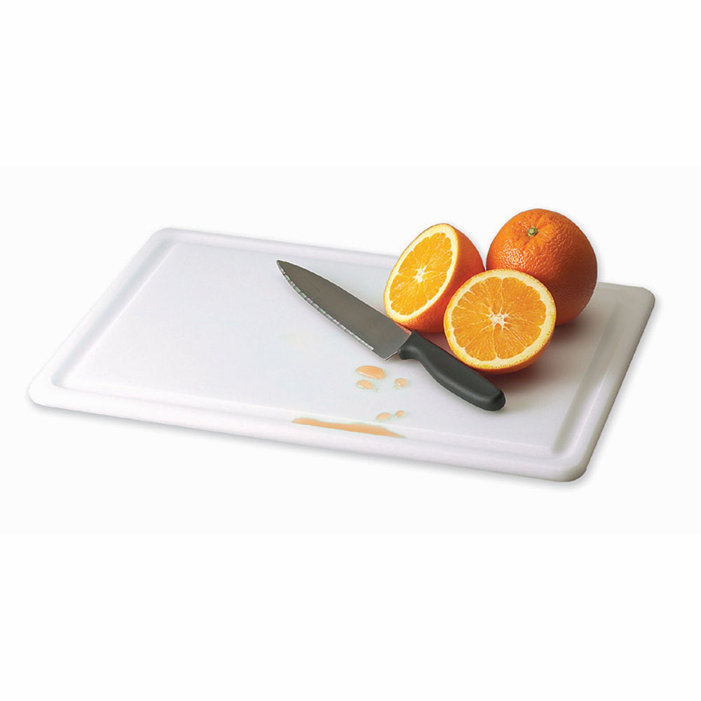 San Jamar CB182412GVWH KolorCut Grooved Cutting Board, 18 x 24 x 1/2 in,