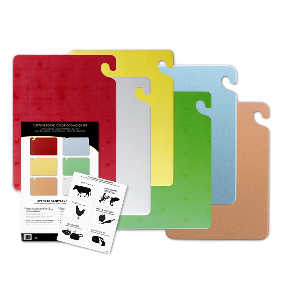San Jamar CB1520KC Cutting Board Set w/ (6) 15 x 20 x 1/2-in & Chart, Assorted Colors