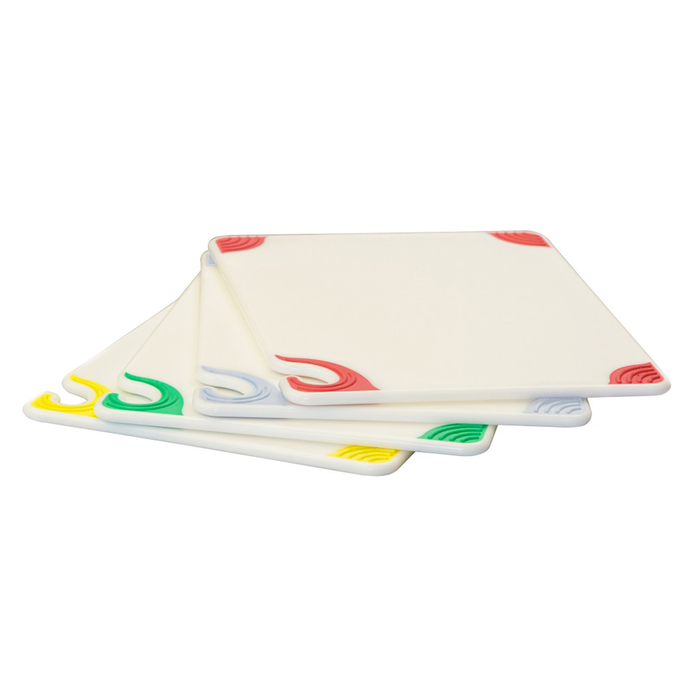 "San Jamar CBGW912QS 4-Cutting Board System - 9x12x.38"", Anti Slip Corners, Color Coded, Co-Polymer"