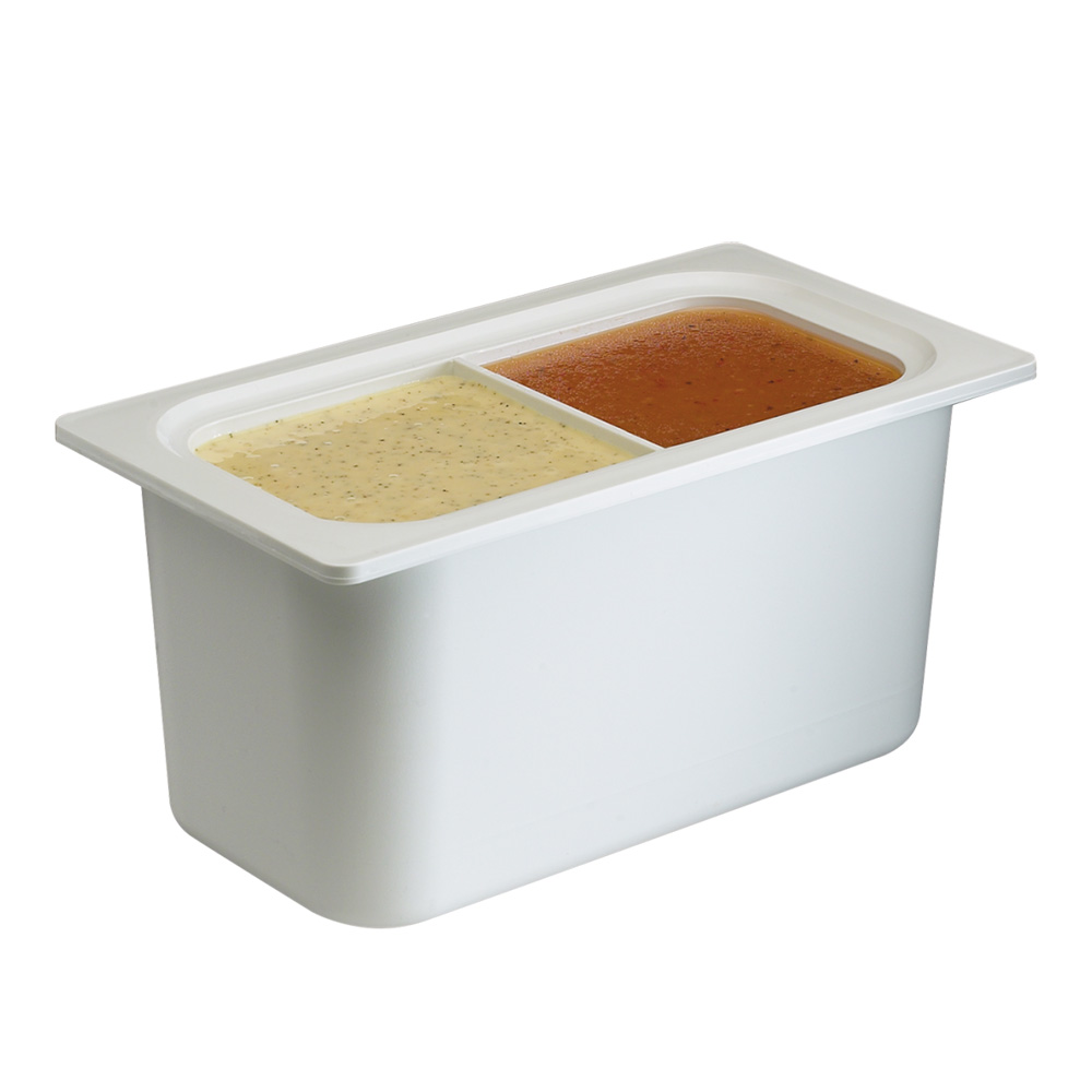 San Jamar CI7002WH Refrigerant Filled Food Pan, 1/3-Size Divided, 6-in Deep, White