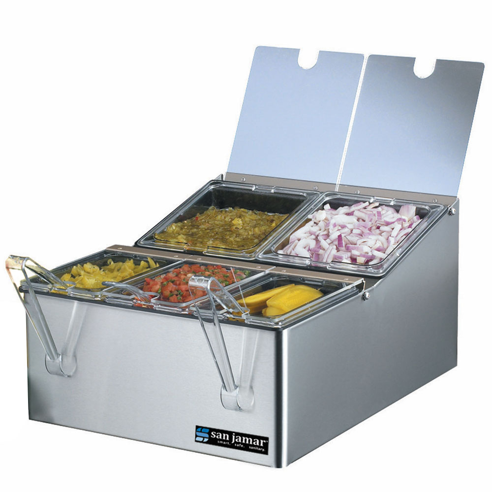 San Jamar FP9125FL Condiment Tray, On-Counter, Chilled, (2) 1/6  (3) 1/9 Size Pans, (5) Lid, SS
