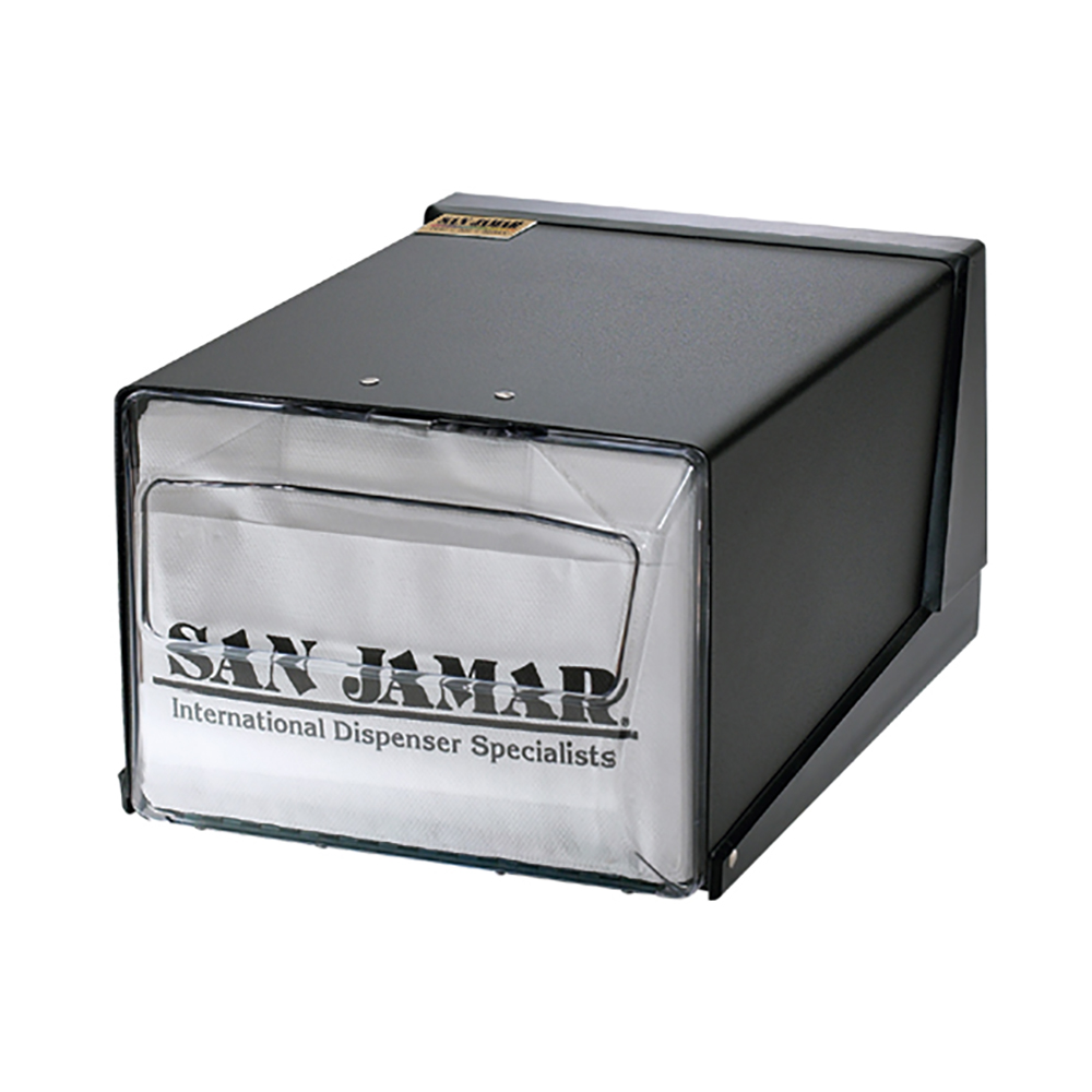 San Jamar H3001CLBK Napkin Dispenser, Counter Top, 300 Fullfold Napkins, Black w/ Clear Faceplate