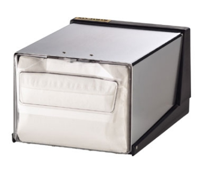 San Jamar H3001CLXC Napkin Dispenser, Counter Top, 300 Fullfold Napkins, Matte Chrome w/ Clear Face