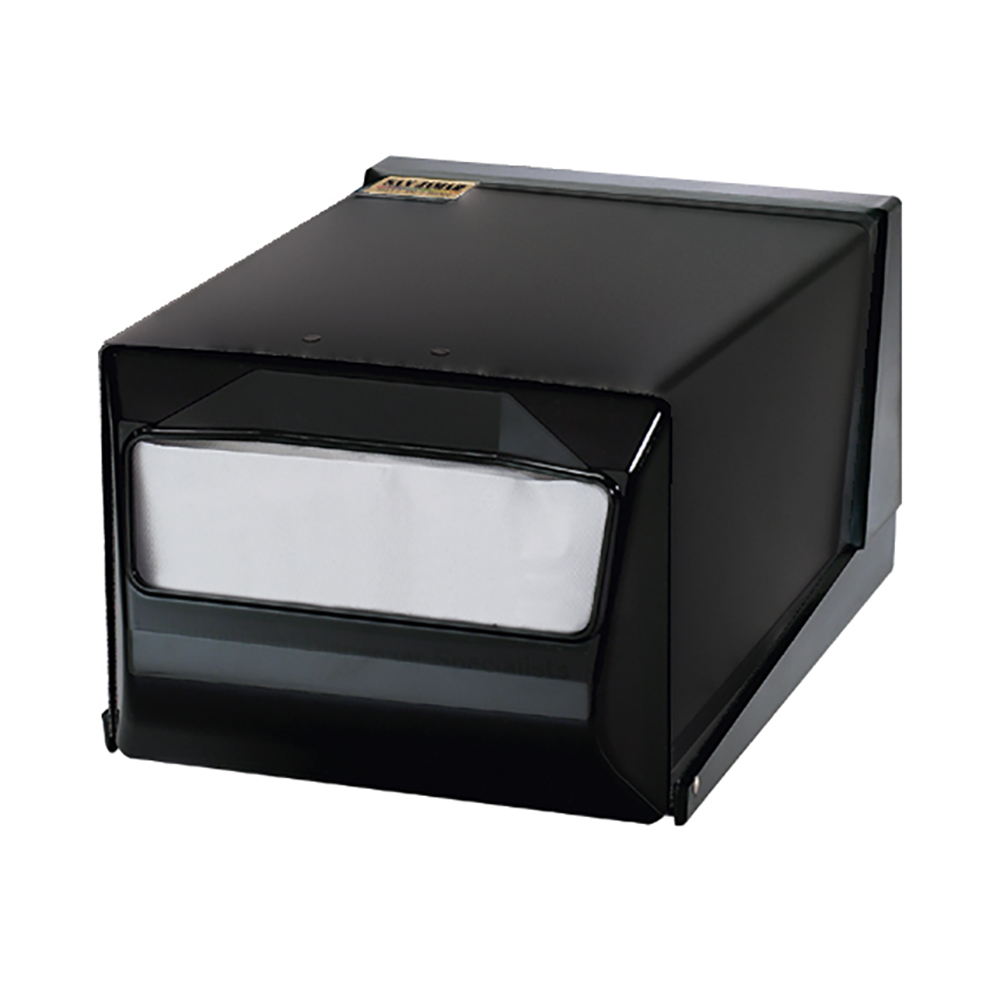 San Jamar H3001TBKBK Napkin Dispenser, Counter Top, 300 Fullfold Napkins, Black w/ Black Faceplate