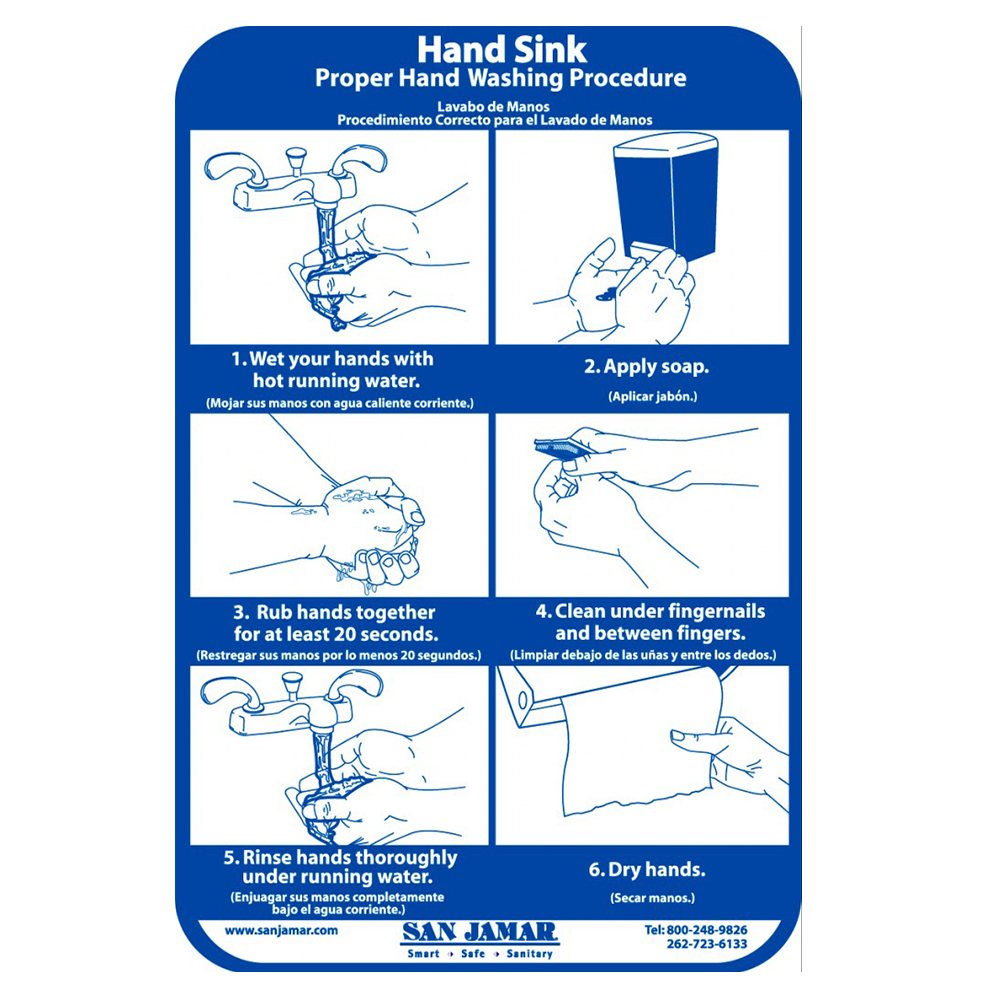San Jamar HWWLCT Hand Washing Station Smart Chart