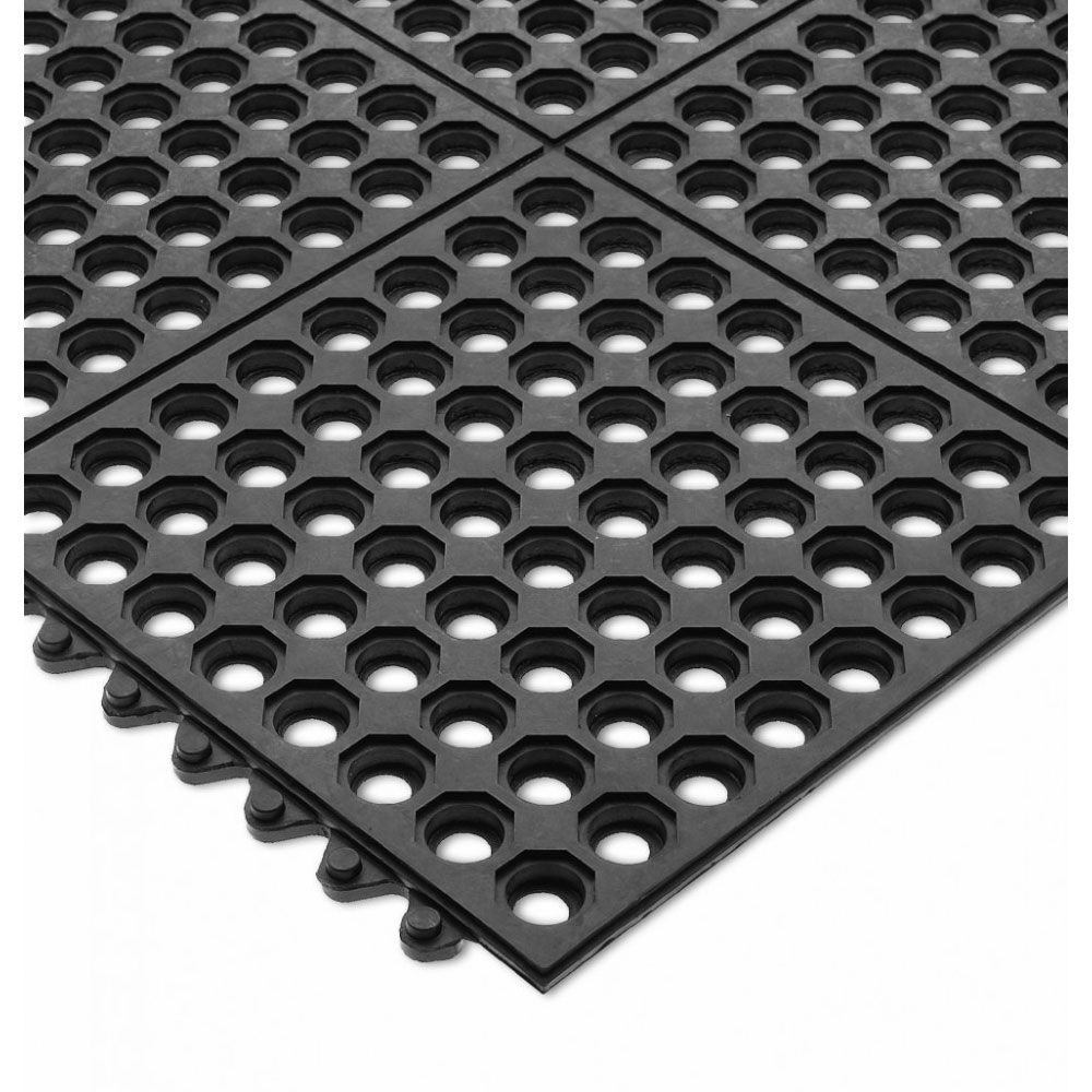 San Jamar KM1140B Rubber Bar Mat, Anti-Slip & Grease Proof, 36 x 36 x .5-in, Black