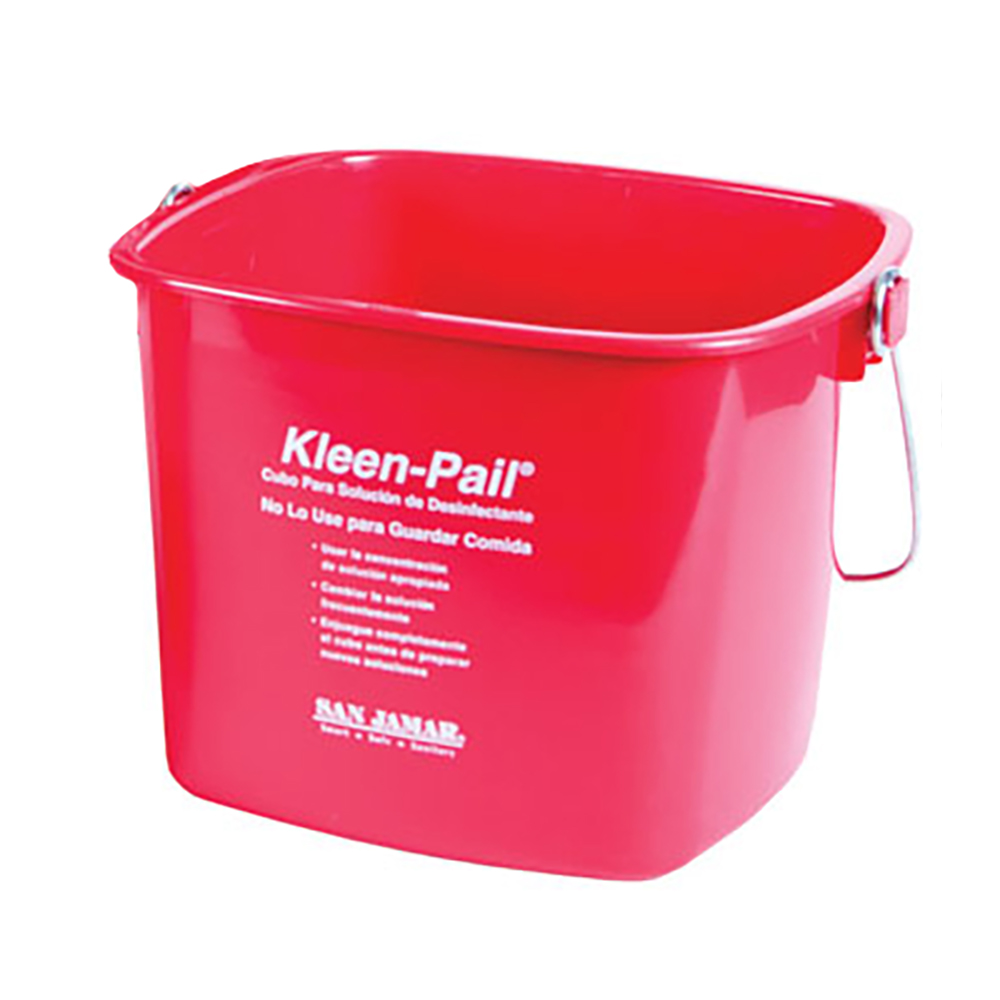 San Jamar KP320RD Kleen-Pail, 10 qt., Plastic, Red - Sanitizing Solution Printing