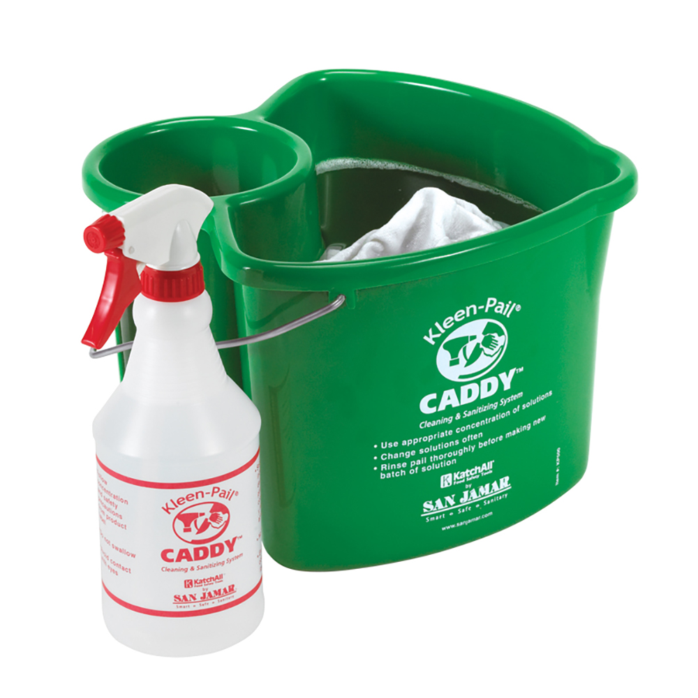 San Jamar KP500 Kleen Pail Caddy, Includes Pail & Spray Bottle