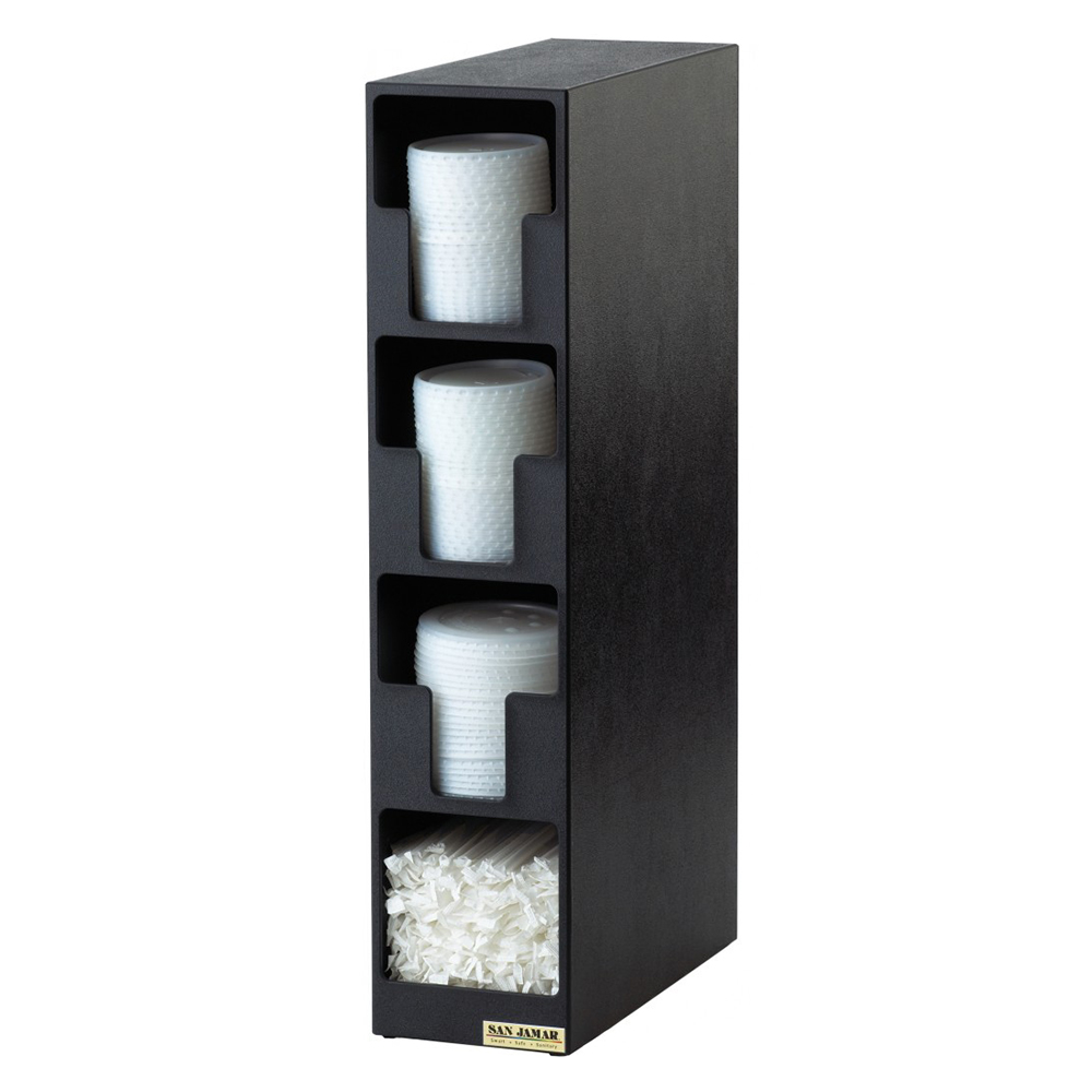 San Jamar L2203 Dimension Lid Tower, 3 Lid, 1 Straw, Black Poly