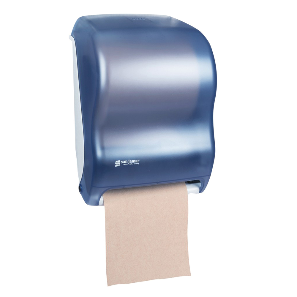 San Jamar T1300TBL Classic Tear N Dry Towel Dispenser, 8 x 8 in Roll, Electronic Touchless, Blue
