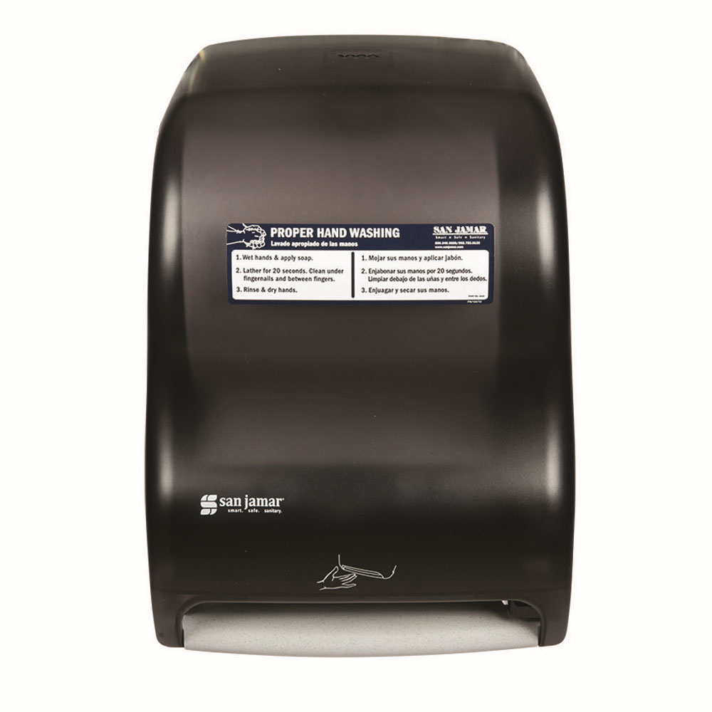 San Jamar T1400TBKHW Smart Roll Kolor-Cut Touchless W/ Handwashing Station, Classic Line, Black Pearl