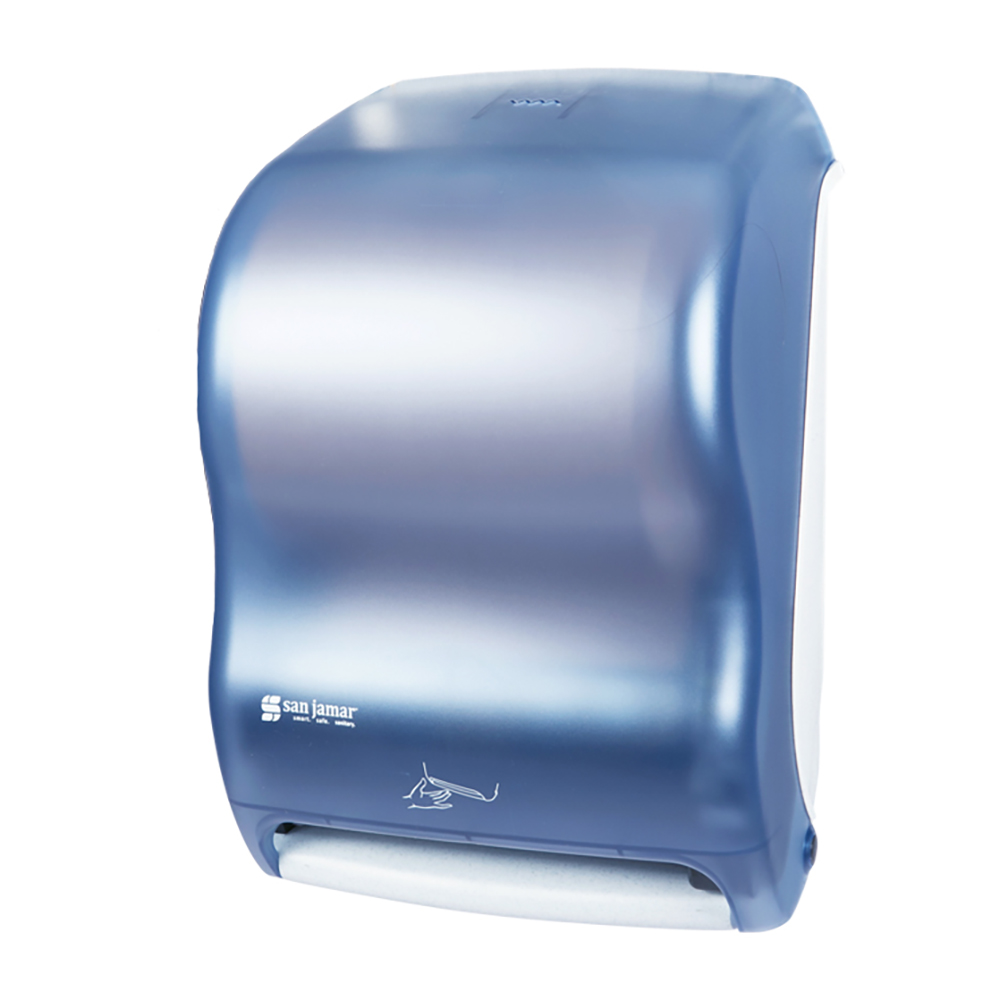 San Jamar T1400TBL Smart System Kolor-Cut Touchless Towel Dispenser, Wall Mnt, Classic, Arctic Blue