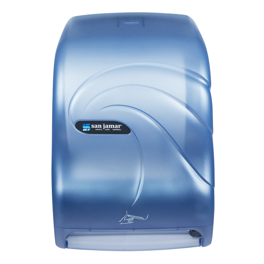 San Jamar T1490TBL Smart System Kolor-Cut Touchless Towel Dispenser, Wall Mount, Arctic Blue