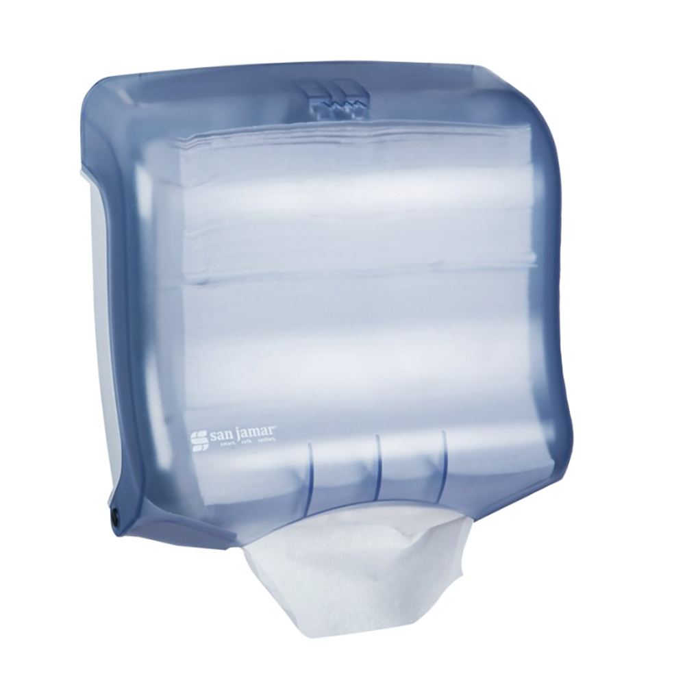 San Jamar T1750TBL Oceans Kolor-CutT Towel Dispenser, Mini Ultrafold, Tran