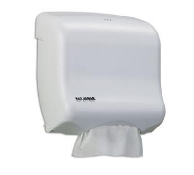 San Jamar T1750WH Oceans Kolor-CutT Towel Dispenser, Mini Ultrafold, White Sand