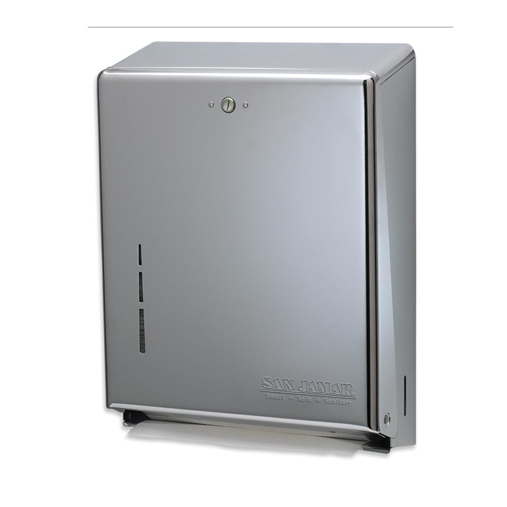 San Jamar T1900XC Multifold Towel Dispenser, Large Cap, Metal Front/Back, Key Lock, Matte Chrome
