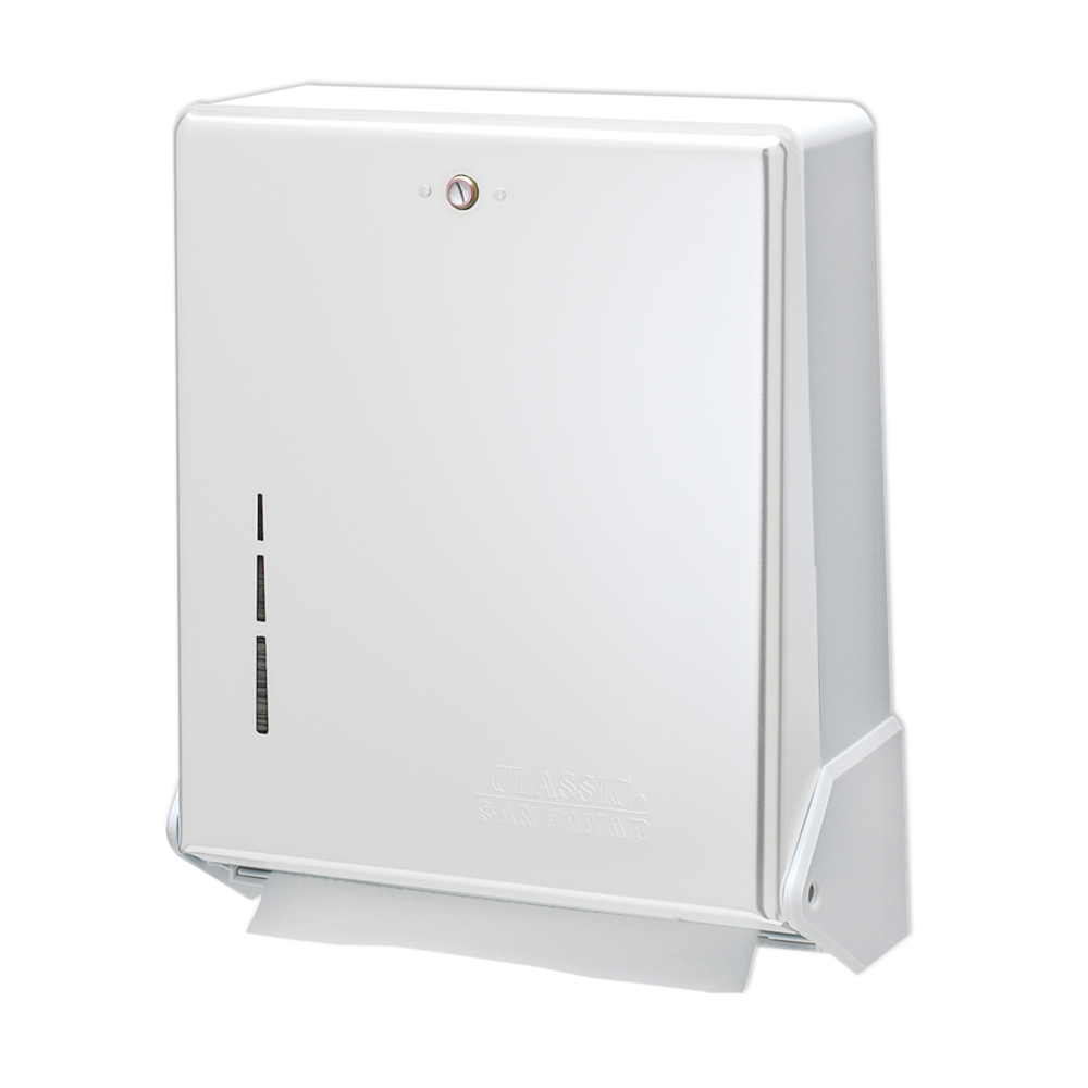 San Jamar T1905WH Multifold Towel Dispenser, Large Cap, Metal Front Plastic Back, Whit