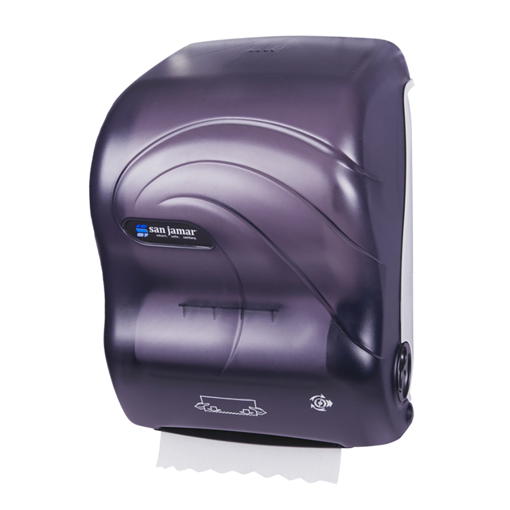 San Jamar T7090TBK Hands Free Roll Towel Dispenser w/ Auto Mechanical Cutting, Plastic, Oceans, Black
