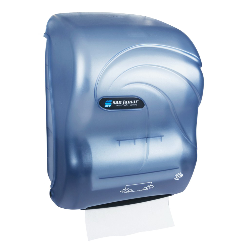 San Jamar T7090TBL Hands Free Roll Towel Dispenser w/ Auto Mechanical Cutting, Plastic, Oceans, Blu