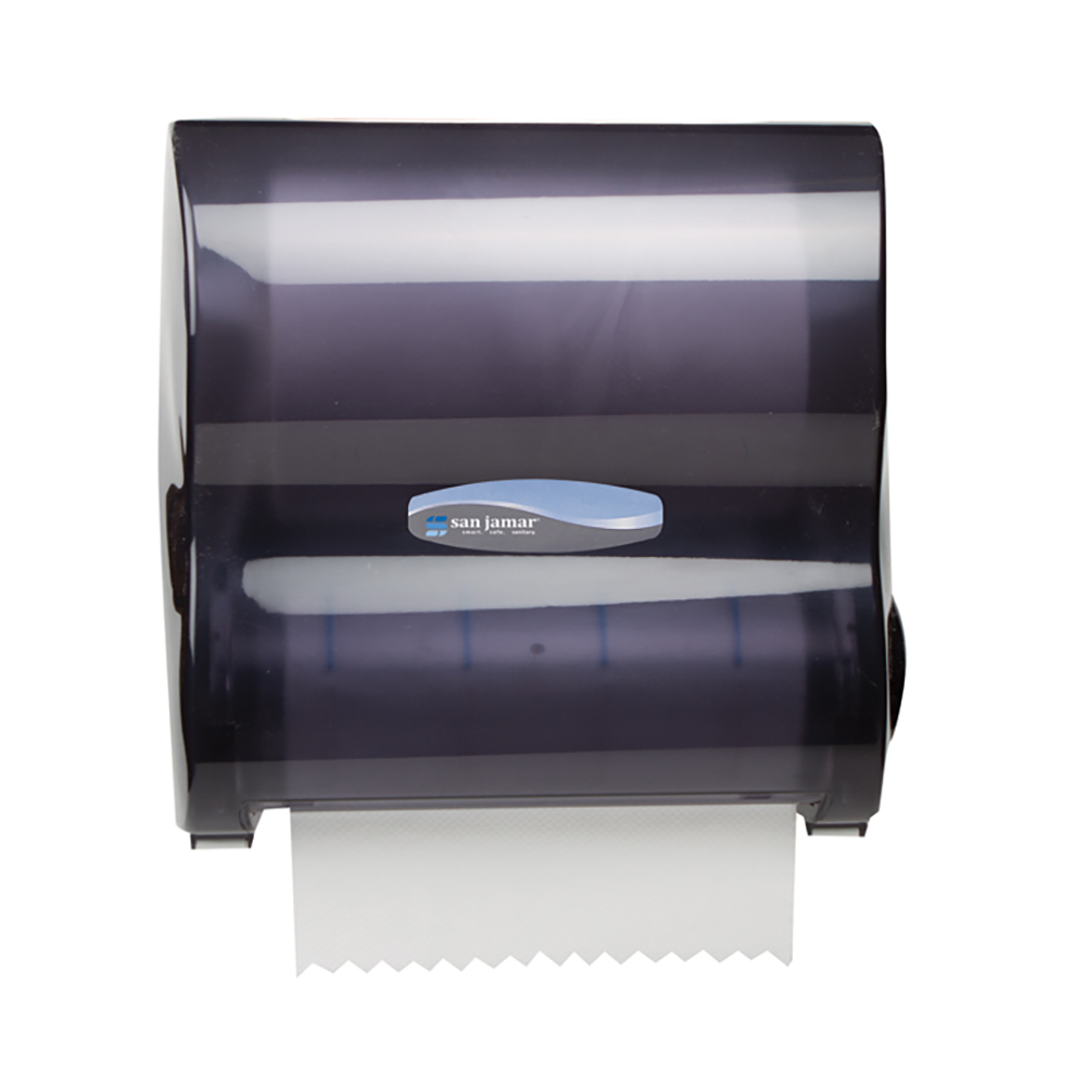 San Jamar T7100TBK Hands Free Mechanical Roll Towel Dispenser For 10-in Wide Rolls, Plastic, Black Pearl