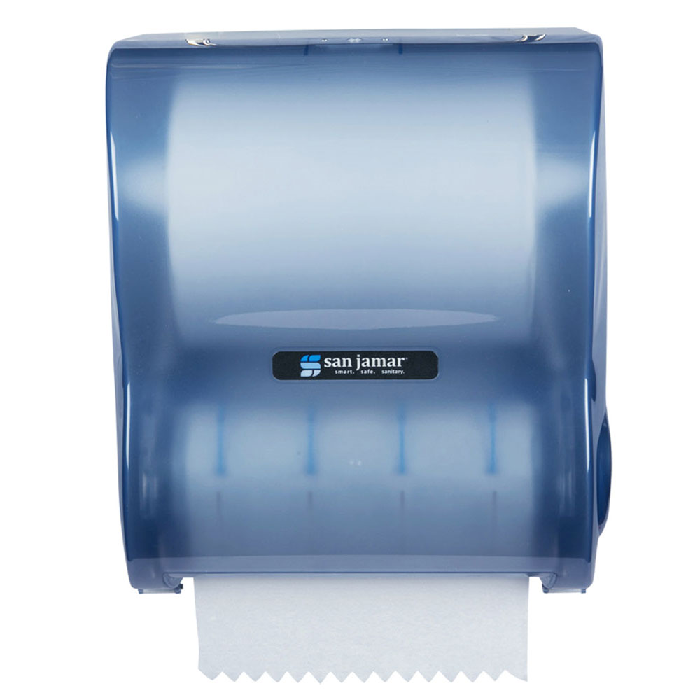 San Jamar T7100TBL Hands Free Mechanical Roll Towel Dispenser For 10-in Wide Rolls, Plastic, Arctic Blue