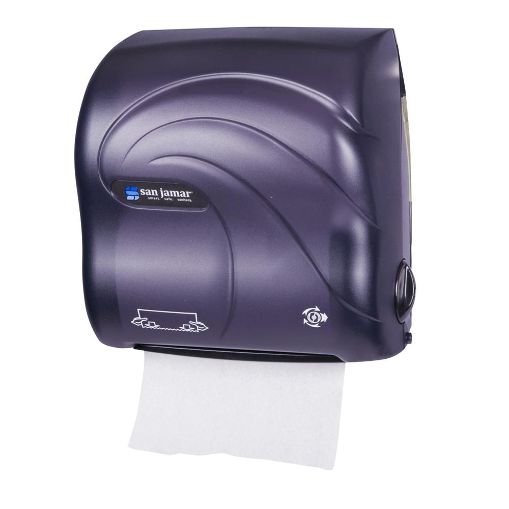San Jamar T7590TBK Compact Hands Free Roll Towel Dispenser w/ Auto Mechanical Cutting, Oceans, Black