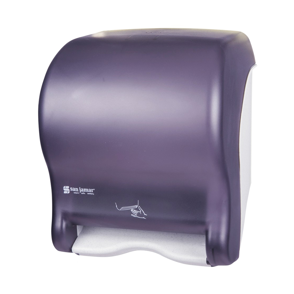 San Jamar T8400TBK Compact Touchless Roll Towel Dispenser Adjustable Programming Classic Artic Blue