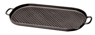 World Cuisine A1733746 Enameled Cast Iron Grill w/ Dual Handles, 18-3/8 x 9-in, Oval,