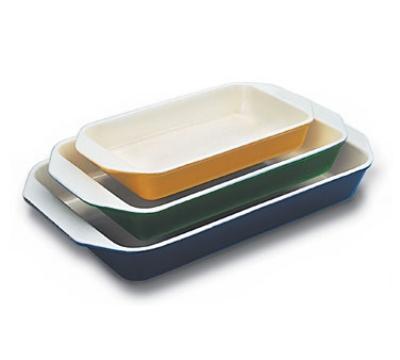 World Cuisine A1735334 Enameled Cast Iron Baking Dish, 3-qt, Rectangular, Red