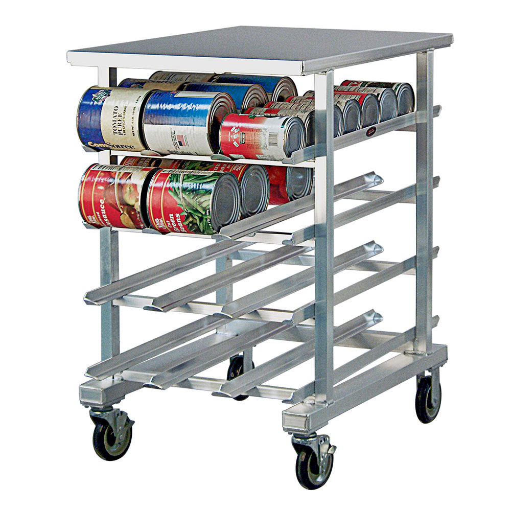 New Age 1226 Mobile Can Storage Rack w/ Low Profile Design Work Top & Sloped Glides, Aluminum