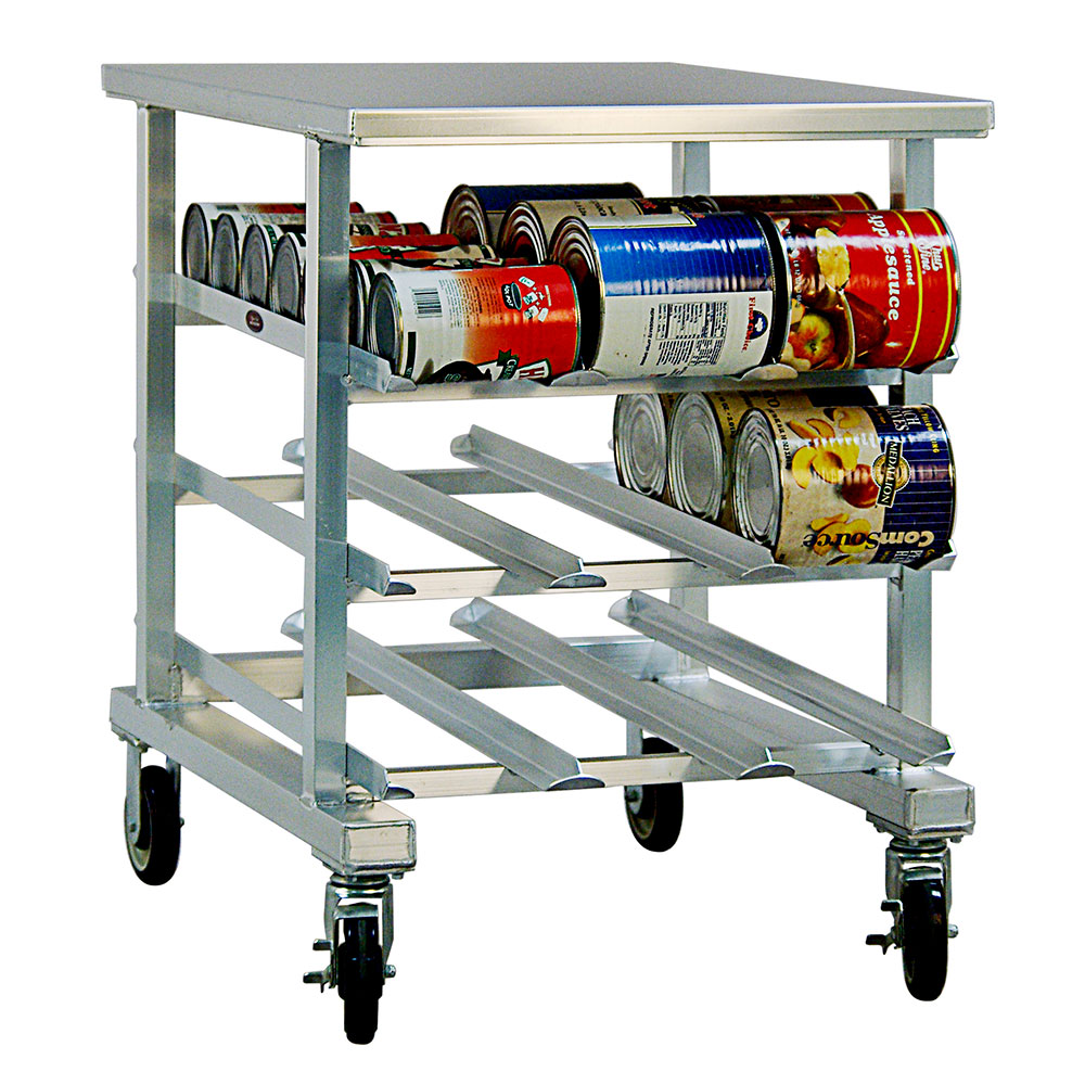 New Age 1236 Mobile Can Storage Rack w/ Aluminum Work Top & (54)#10 Or (72)#5 Can Capacity