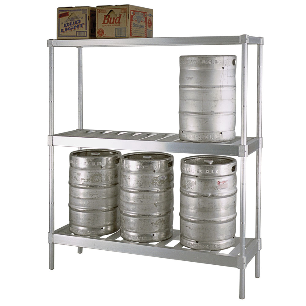 New Age 1288 Beer Keg Rack w/ 8-Keg Capacity & 3-T Bar Shelves, 76x18x80-in, Welded Aluminum