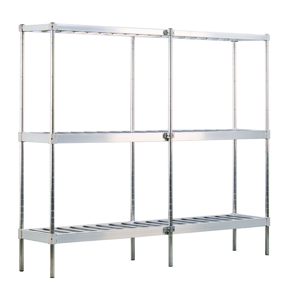New Age 1289 Beer Keg Rack w/ 10-Keg Capacity & 3-T Bar Shelves, 76x18x93-in, Welded Aluminum