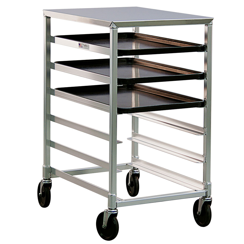 New Age 1321 Mobile Pan Rack Stainless Top Half Size Height Slides For 18x26-in Pans Aluminum
