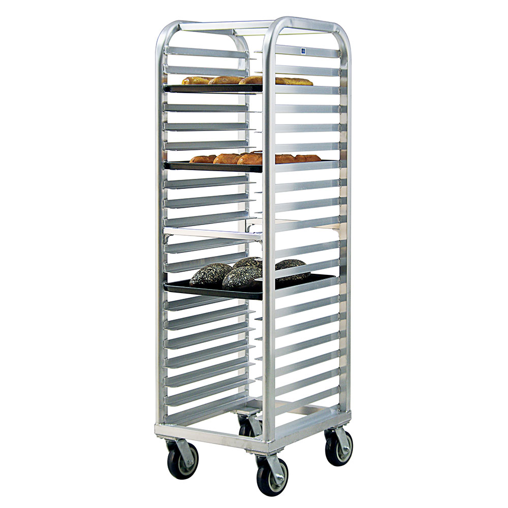 New Age 4331 73-in Heavy Duty Bun Pan Rack w/ 20-Angle Runners & End Loading, Aluminum