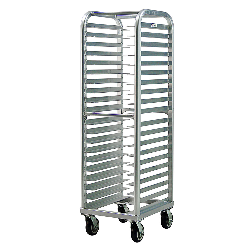 New Age 4339 73-in Heavy Duty Bun Pan Rack w/ 20-Universal Wide Angle Runners & End Loading