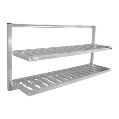New Age 98142 2-Tier Universal Bus Tub Wall Shelf w/ T Bar Shelves & 12-in Shelf Clearance