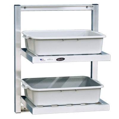 New Age 98213 2-Tier Universal Bus Tub Wall Shelf w/ T Bar Shelves 30x48x16-in
