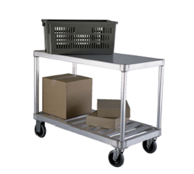 New Age 1415 19x41-in Open Utility Cart w/ 2-Solid T Bar Shelves & 800-lb Capacity, Aluminum