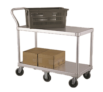 New Age 1490 19x48-in Utility Cart w/ 2-Solid Shelves, Push Handle & 800-lb Capacity Aluminum