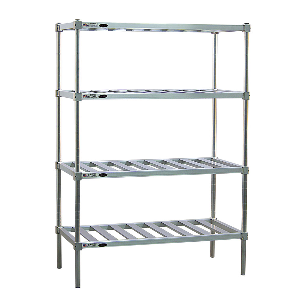 New Age P2448 4-Tier Stationary Pot Pan Rack w/ 900-lb Capacity & 76x24x48-in, Aluminum