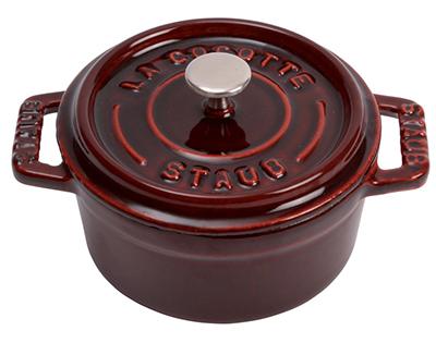 Staub 1101087 Mini Round La Cocotte w/ .25-qt Capacity & Enamel Coated Cast Iron, Grenadine