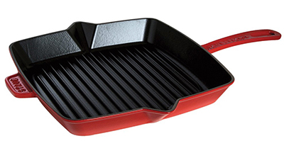 Staub 1202906 10x10-in American Square Grill, Cherry