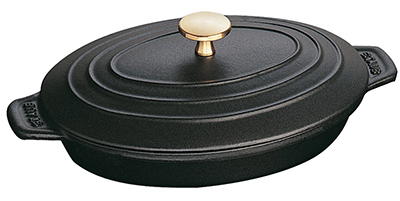 Staub 1332325 9x6.63-in Oval Hot Plate w/ 1-qt Capacity, Lid & Enameled Cast Iro