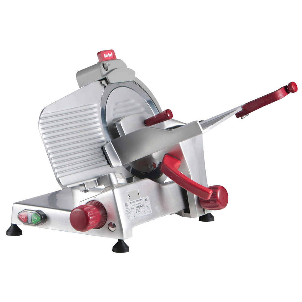 Berkel 825E-PLUS 10-in Round Manual Slicer w/ Angled Gravity Feed & Knife Guard, Sharpener