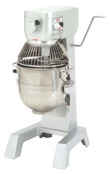 Berkel PM30 30 Qt Planetary Mixer w/ SS Bowl, Spiral Dough Hook, Flat Beater, Wire Whip