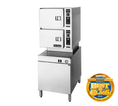 Cleveland 24CGM200 NG 2-Compartment Convection Steamer w/ 3-Pan Capacity, Solid State, NG